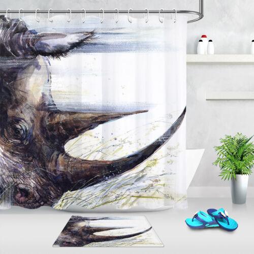 Watercolor Hand Drawn Rhinoceros Waterproof Fabric Mildew Shower Curtain /& Hooks