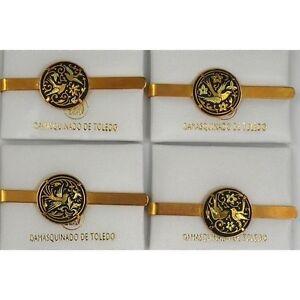 Damascene-Gold-Mens-Tie-Bar-Dove-of-Peace-Design-by-Midas-of-Toledo-Spain