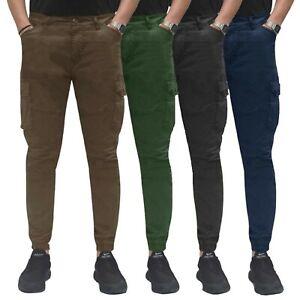 Pantalone-Uomo-Cargo-Con-Tasconi-Invernale-Verde-Blu-Nero-Marrone-Pantaloni-slim