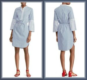 Ralph Lauren Bell Sleeve Bengal Stripe Blue White Shirt Dress Size 14 Uk Usa 10 Ebay