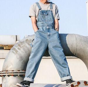815fe8f4593 Details about New Mens Loose Denim Overalls Bib Suspenders Pants Jeans  Jumpsuit Romper Vintage