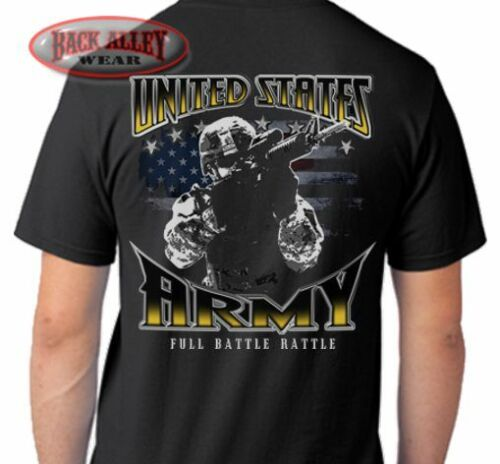 ARMY FULL BATTLE RATTLE T-SHIRT Tee ~ Soldier Veteran US ARMY STRONG