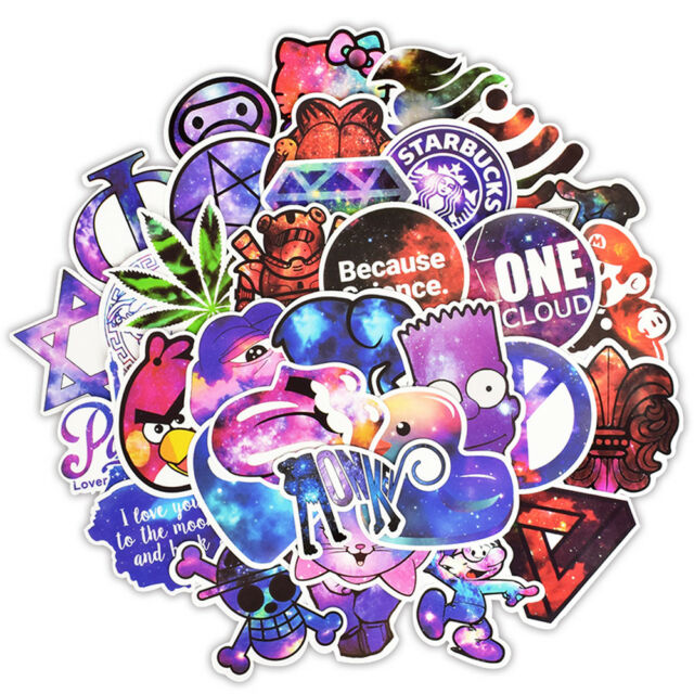50 PCS Mixed Galaxy Sticker Cartoon Stickers for DIY Luggage Laptop Skateboard