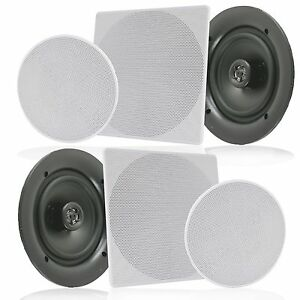 PAIR-Pyle-PDIC1666-6-5-034-In-Wall-In-Ceiling-Home-Speaker-2Way-Flush-Mount-200W