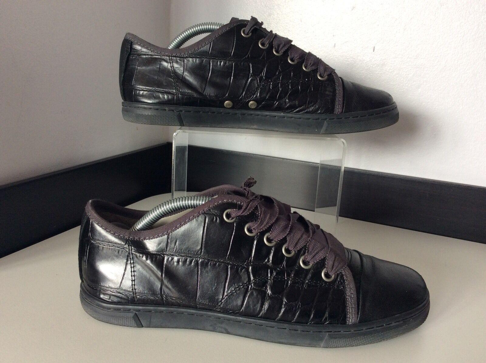 Los últimos zapatos de descuento para hombres y mujeres Lanvin Negro Cuero Tenis Zapatos Reino Unido 5 en muy buen estado bombas para Mujer