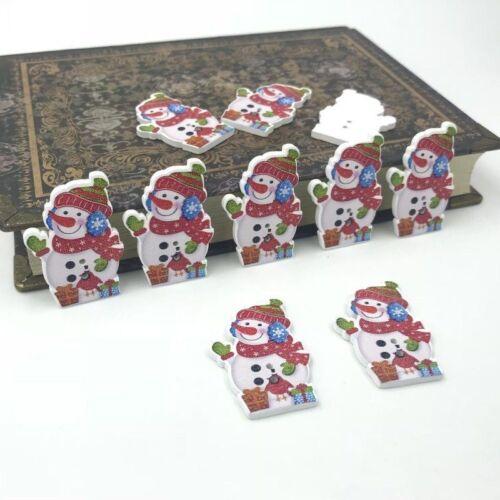 Weihnachten Schneemann Holz Knopf//Knöpfe Dekoration Weihnachten Handwerk 34mm