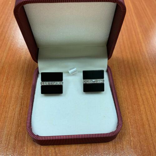 Men's Square Shape Cuff's Button Black Cufflinks w