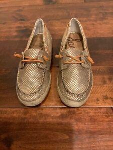 Sam-Edelman-034-Sebastian-034-Gold-Snakeskin-Leather-Lace-Up-Boat-Shoes-Size-8-5-US