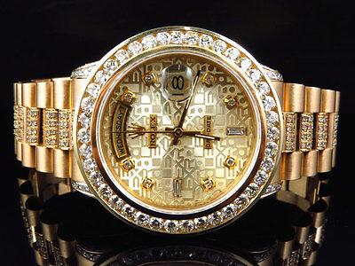18k Yellow Gold Mens Rolex Presidential Day-Date Diamond Bezel Watch 9.5 Ct
