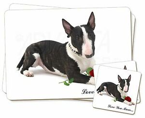 Toro-Terrier-Rosa-039-Love-You-Mum-039-Individual-2x-Manteles-2x-Posavasos-SE