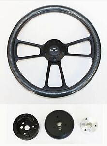Chevelle-Nova-Camaro-Impala-14-034-Steering-Wheel-Carbon-Fiber-amp-Black-Bowtie-cap