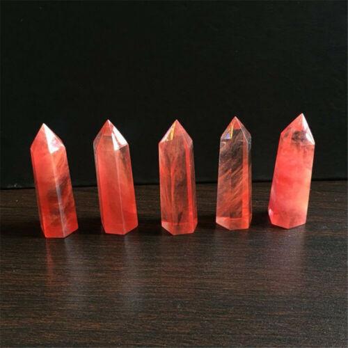 Naturel Rouge Cristal Quartz Pierre Baguette Pointe Minéral Reiki Wand Guérison