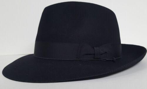Brand New Borsalino 100/% Fur Felt Black Size 59  7 3//8ths