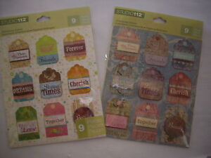 NEW-9-pc-TAGS-DIMENSIONAL-STICKERS-Word-Cherish-Dreams-Forever-STUDIO-112-K-amp-CO