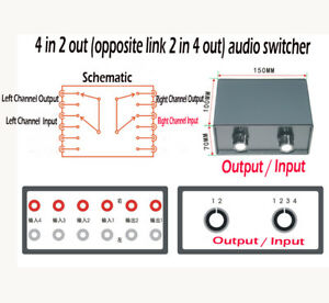 Details about Stereo 4-IN-2-OUT RCA Audio Signal Splitter / Switcher  Selector Passive Preamp