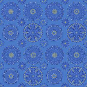 Fabric Celestial Sol Suns Mandala Gold on Royal Blue Cotton 1//4 Yard