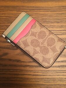 COACH-Coated-Canvas-Signature-Zip-Card-Case-Tan-Sand-Orchid-Sliver