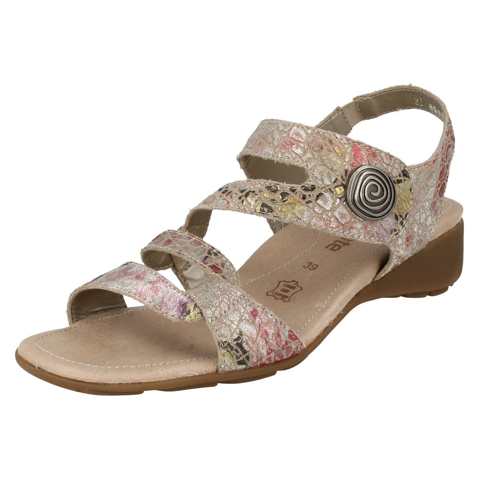Último gran descuento Ladies Beige Combi Leather Riptape Remonte Summer Open Toe Sandals R5247