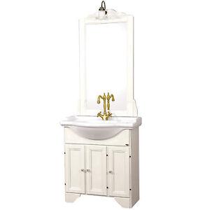 Mobile bagno classico 75 cm in legno bianco decapato stile shabby con specchiera ebay - Mobile bagno classico bianco ...