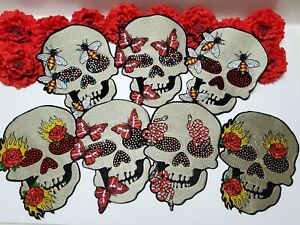 Large Skull patch Iron on Fashion Skull patch Sequin patch