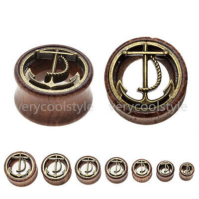 Pair Sono Wood Alloy Inlaid Anchor Gauges Ear Tunnels Plugs Stretcher Piercing