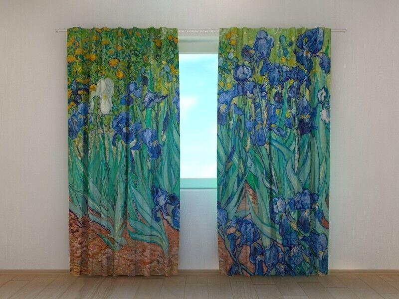 Cortina Dormitorio Arte Vincent van Gogh Lirios Floral 3D wellmira Azul Sala De Estar
