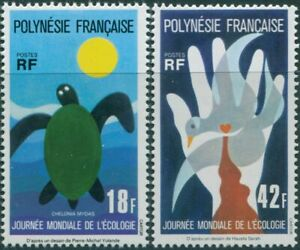 French-Polynesia-1976-SG219-220-World-Ecology-Day-set-MNH