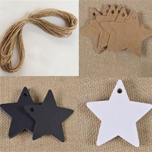 100pcs Star Kraft Paper Wedding Party Favor Gift Card Price Label Luggage Tags4F
