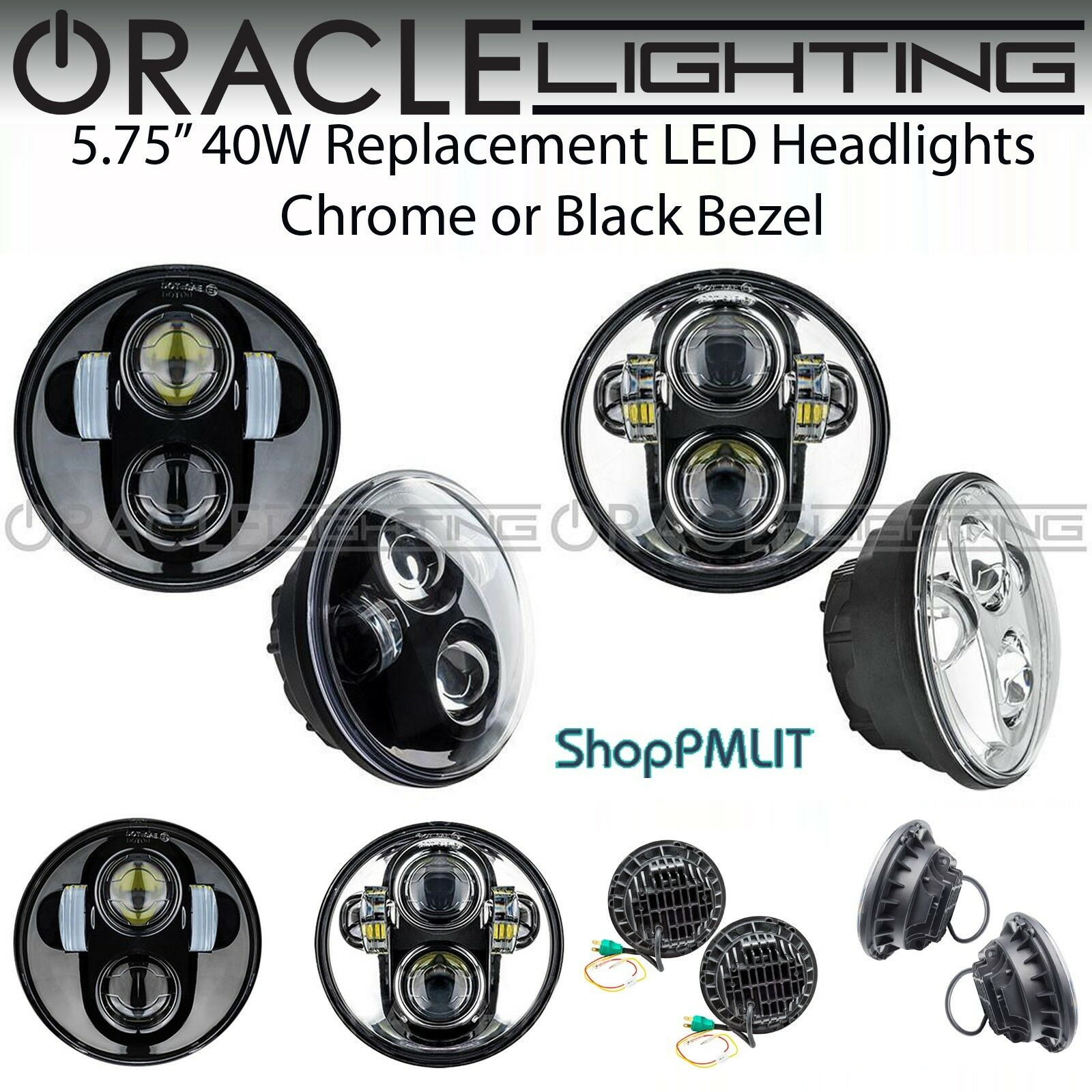"""ORACLE 5.75/"""" Sealed Beam 40W Replacement LED Headlights Chrome or Black Bezel"""