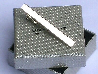 "TIE BAR - METAL 55mm ""SHINY SILVER STYLE CLASSIC PLAIN"" in a SLIM GIFT BOX-NEW"