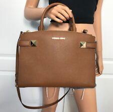 NWT Michael Kors Bag Leather Medium Crossbody Handbag Purse Brown Luggage Gold