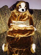 Child WARM 2 pc ZIPPER SOFT BROWN COSTUME PUPPY DOG SLEEPING BAG W/ PILLOW PLUSH
