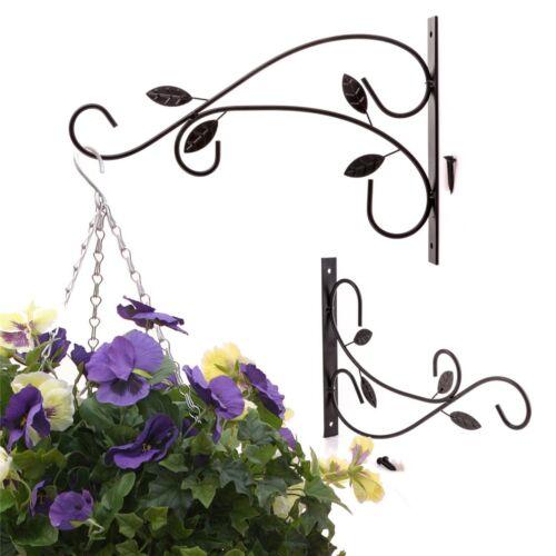 BLACK METAL LEAFY GARDEN WALL BRACKET Hanging Basket//Lantern Hanger//Planter Hook