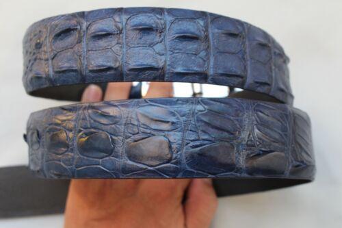 W 1.5 inch Unjointed BLUE Genuine Alligator Crocodile Belt Skin Leather Men/'s