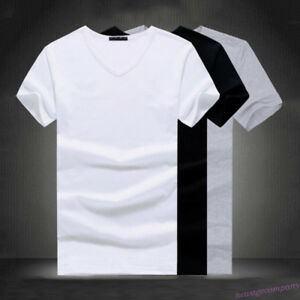Men-V-O-Neck-Cotton-T-shirt-Slim-Casual-Tops-Blouse-Fitness-T-Shirt-Plus-Size