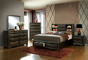 Details about Modern Contemporary Bedroom 4pc Set Espresso Storage King Bed  Dresser Mirror NS