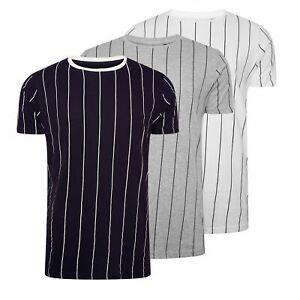 Hommes-T-Shirt-Brave-Soul-Stobart-a-encolure-ras-du-cou-a-manches-courtes-a-rayures-verticales-Tee