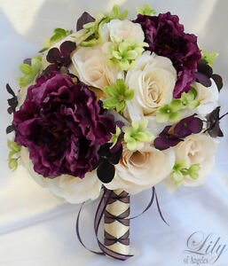 17pc Wedding Bridal Bouquet Decoration Package Flower PLUM EGGPLANT ...
