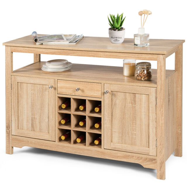 Buffet Table With Wine Rack Dining Room Storage Sideboard ...