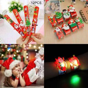 12x-Christmas-LED-Light-Up-Wristband-Bracelet-Santa-Snowman-Xmas-Slap-Band-Gift