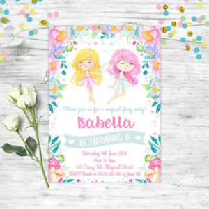 FAIRY-INVITATIONS-FAIRIES-GIRLS-BIRTHDAY-PARTY-SUPPLIES-FLORAL-PERSONALISED