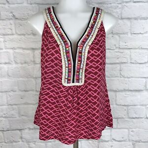 Anthropologie-Akemi-Kin-Small-Tank-Top-Embroidered-Pink