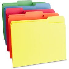 Business Source Color File Folder 1-Ply 1/3 Cut Tabs Letter 100/BX AST 65780