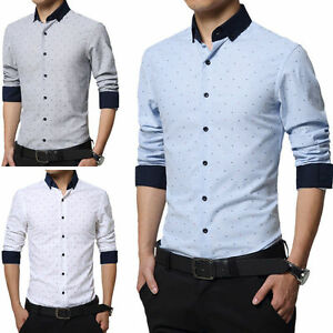 Men-039-s-Long-sleeve-Dress-Shirts-Casual-Slim-Fit-Camisas-Business-Multicolor-Z6271