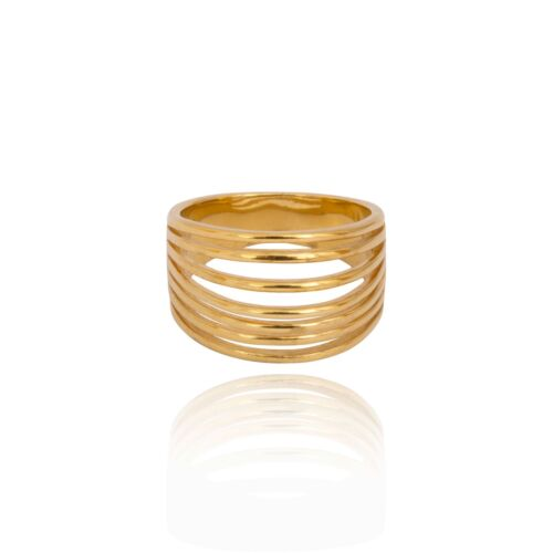 Gift box Sterling Silver 925 gold plate stacking band stacking chunky ring