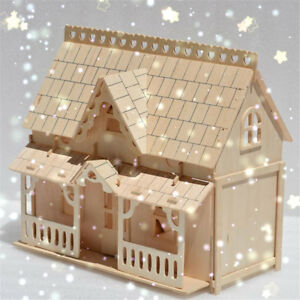 DIY Wooden Kids Dolls House Room Miniature Kit Play Toy Christmas ...