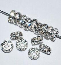 100 Swarovski Rondelles Spacer Beads 4mm Rhodium / Crystal - SR400