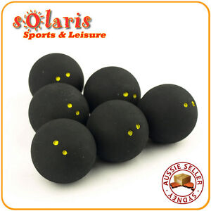 6-x-Double-Yellow-Dots-Squash-Balls-Generic-Non-Branded-High-Quality-Rubber