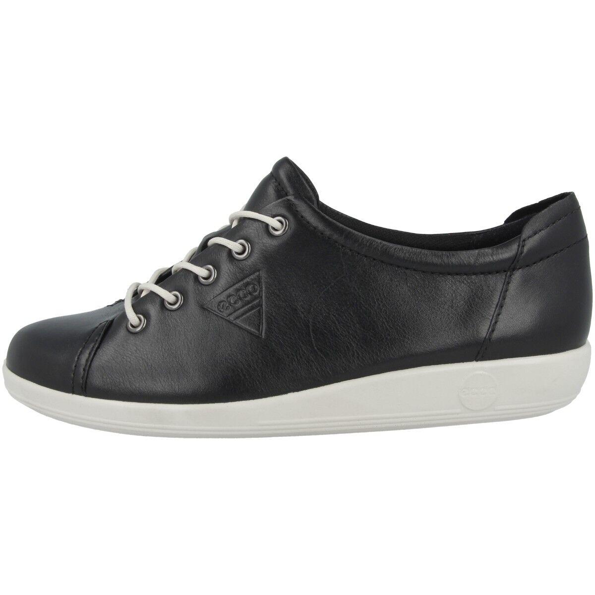 Ecco Soft 2.0 Ladies Scarpe da Donna in Pelle Lacci scarpe da ginnastica nero 206503-01001