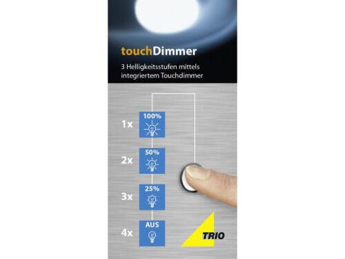 Design Wohnzimmerlampe Nickel TOUCH dimmbar Nachttischleuchte mit Glasschirm